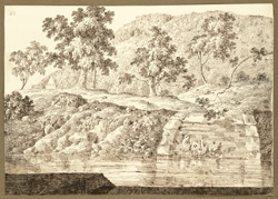 View of the Rajgir Hills (Bihar) near the sacred streams; steps leading down to the water. 20 December 1824